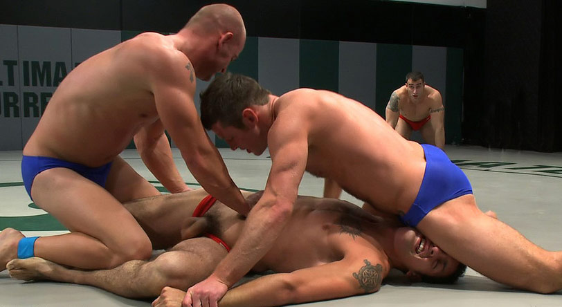 Gay wrestling pics with blue and red teams wrestling